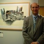 Ceri Thomas with one of his New York photocollage and watercolour pictures, March 2011