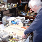 Arthur Giardelli in his studio, Warren, Pembrokeshire, 27 July 2007