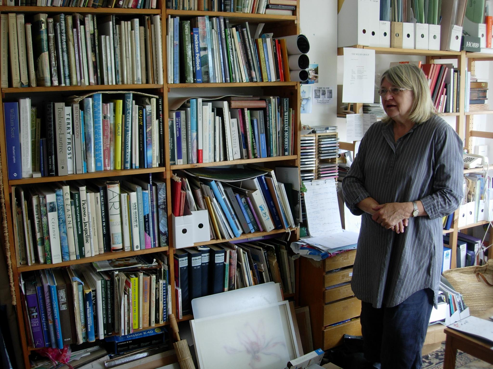 Angela Hoppe Kingston in her study, Llantwit Major, 13 August 2007