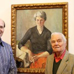 Ceri Thomas and Bryn Richards with one of his paintings, Oriel y Bont 2012
