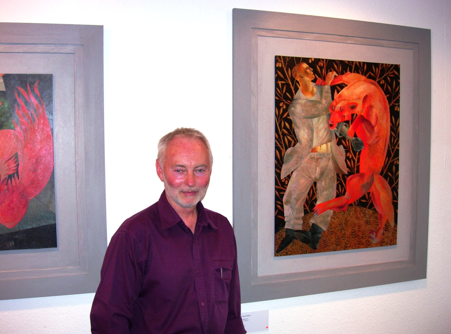 Clive Hicks-Jenkins with his paintings, Machynlleth, 31 August 2007