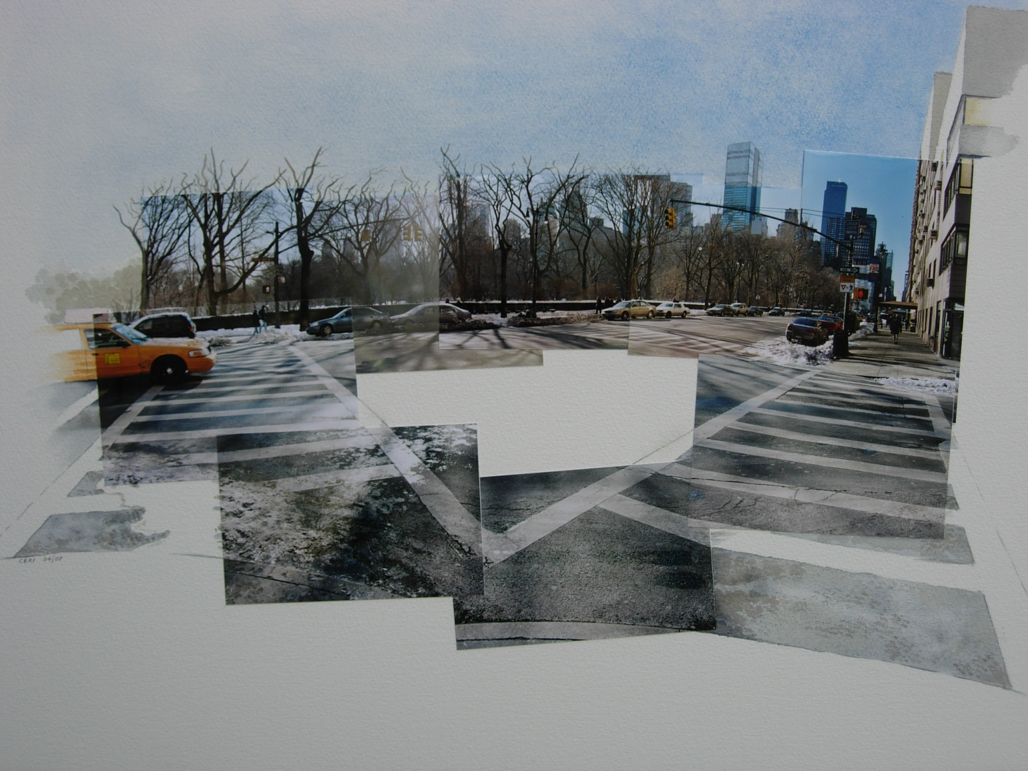 'New York Crossway: Central Park' watercolour and photocollage on paper (2003/07)