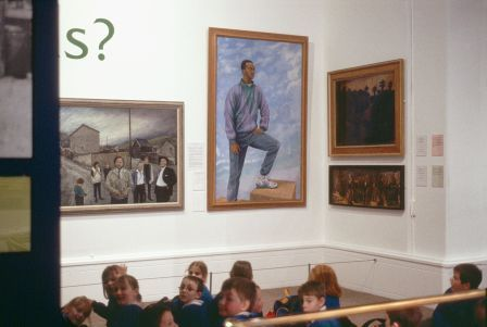 'Colin Jackson' painting by Ceri Thomas with works by Jack Crabtree (left) and Josef Herman (right), National Museum Wales, Cardiff 2001