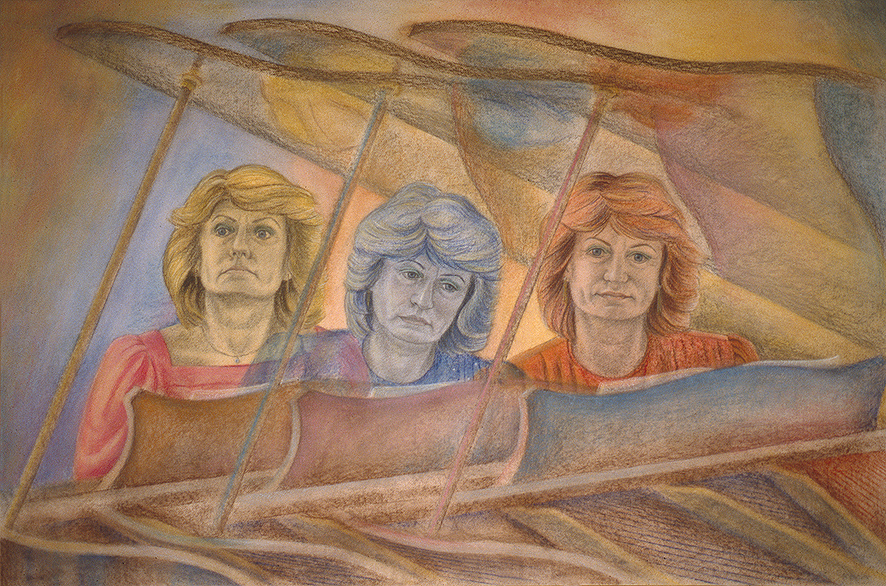'Ingrid Surgenor: Piano Accompanist' conte pastel and watercolour on paper, 75 x 110 cm (1991)