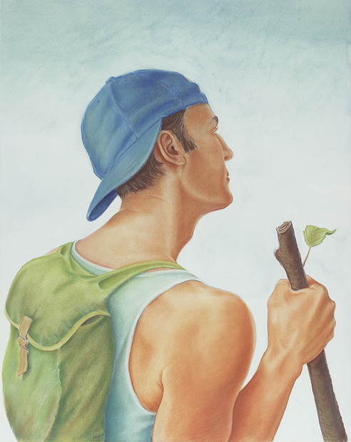 'Pererin: The Traveller' conte pastel and watercolour on paper, 63 x 52 cm (2002)