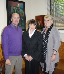 Ceri Thomas and Betty Rae Watkins with interviewer Nicola Heywood Thomas, Ystradgynlais 2011