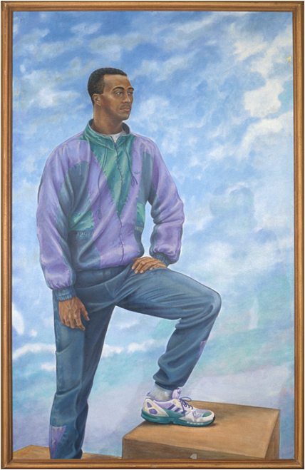 'Colin Jackson: Sprint Hurdler' oil on lined board, 183 x 114 cm (1991/93)