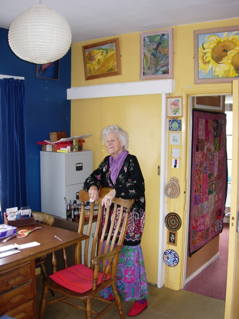 Dora Hurst with some of her paintings, Penarth, 13 August 2007