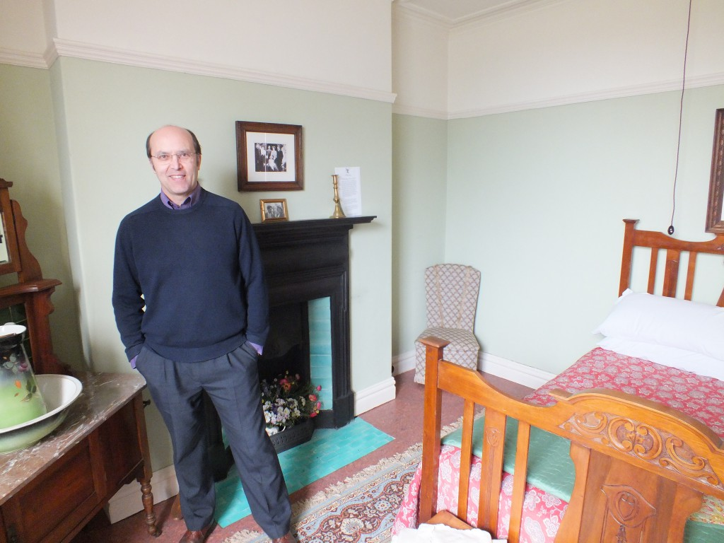 Ceri Thomas in the front bedroom of 5 Cwmdonkin Drive