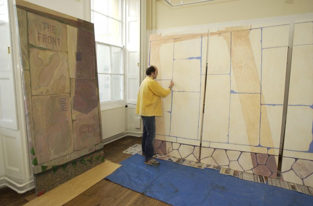 Ceri Thomas painting 'Cara Roma, Cofio Caradoc?' in 2003