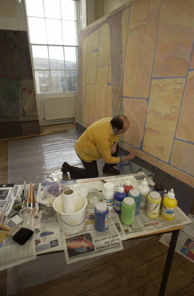 Ceri Thomas painting 'Cara Roma, Cofio Caradoc?' in 2004