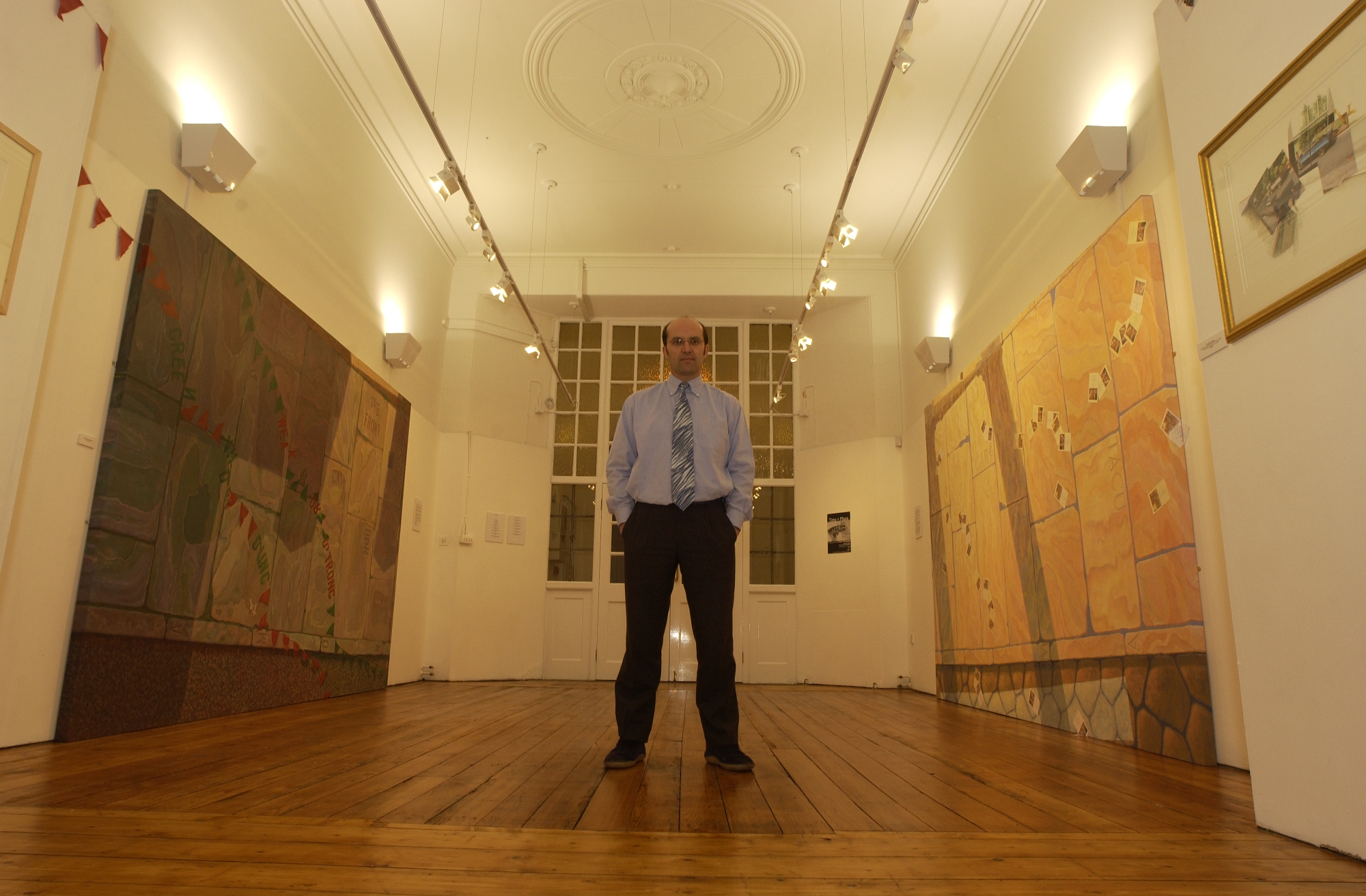 Ceri Thomas in his 'Time + Place' exhibition, 2004