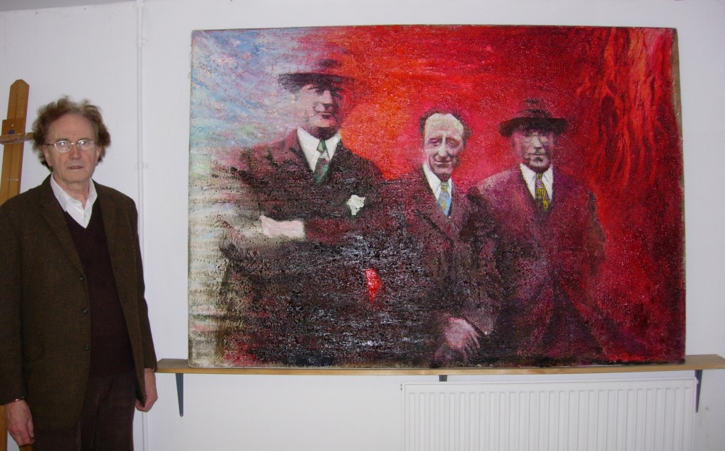 Ivor Davies with one of his paintings, Penarth, 21 September 2007