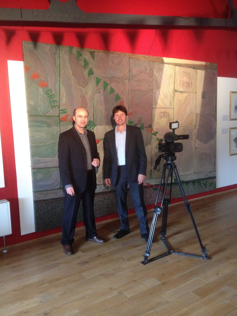 Ceri Thomas with Carwyn Jones of BBC Wales Today television at 'Placing Dylan', Swansea 2014