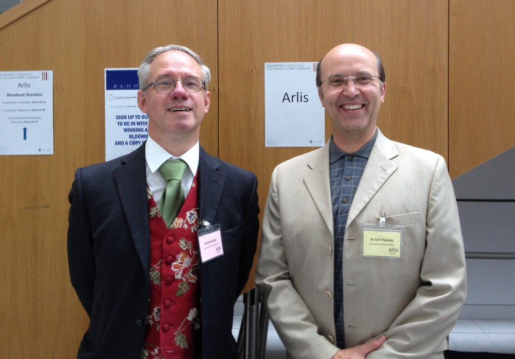 David Pulford (Arlis Chair) and Ceri Thomas, Arlis conference, Cardiff Metropolitan University 16 July 2015