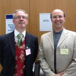 David Pulford (Arlis Chair) and Ceri Thomas, Arlis conference, Cardiff Metropolitan University 16 July 2015