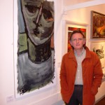 Keith Bayliss with one of his paintings, Trehafod, 27 September 2007