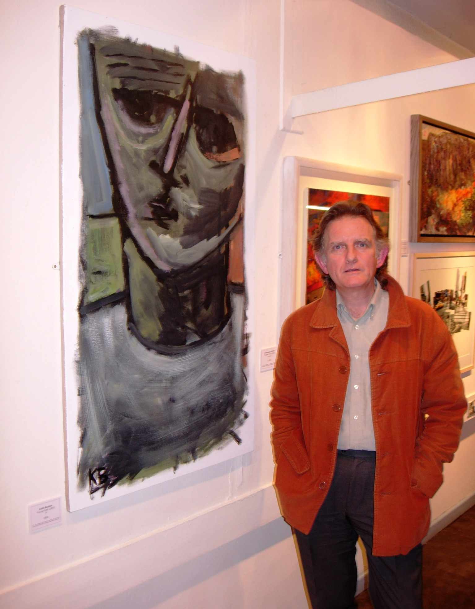 Keith Bayliss with one of his paintings, Rhondda Heritage Park Gallery, Trehafod, 27 September 2007