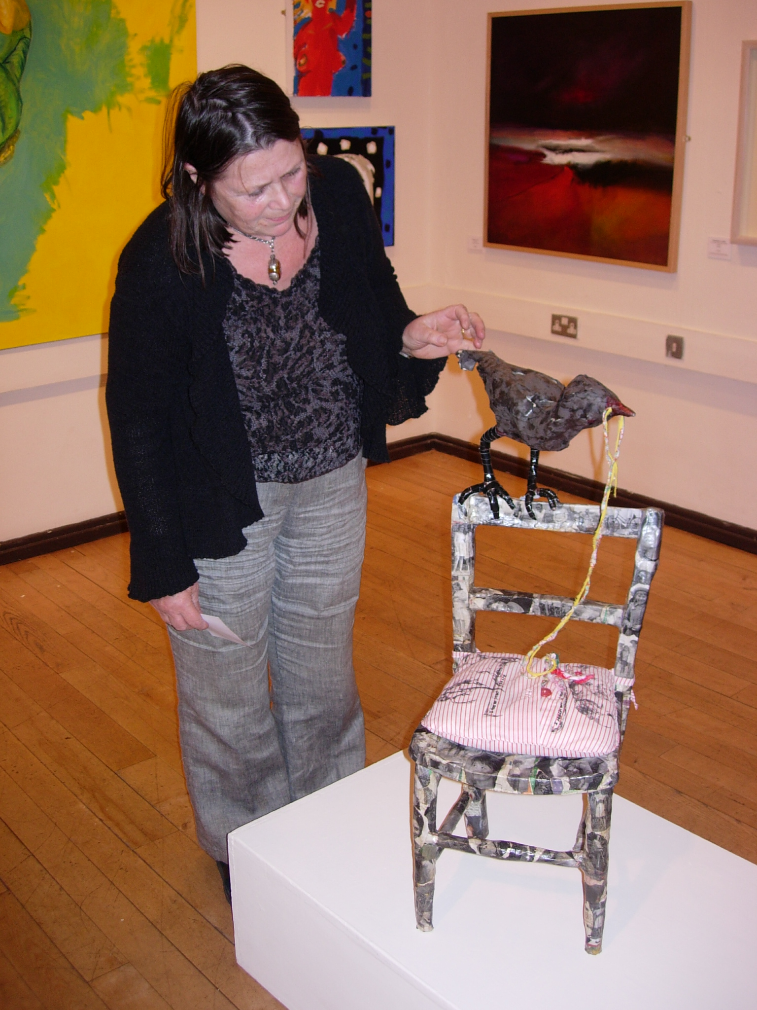 Lynne Bebb with one of her sculptures, 27 September 2007