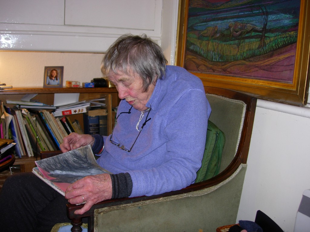 Mary Fogg with one of her paintings, Llanbedrog, 9 December 2007