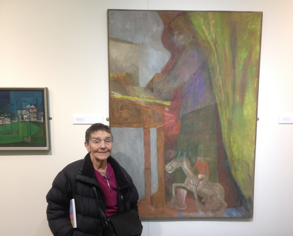 Pip Koppel with the 'Twelve/56' book and paintings by Robert Hunter and Heinz Koppel, '56 Group - Then' exhibition, Oriel y Bont (February 2013)