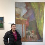 Pip Koppel with paintings by Robert Hunter and Heinz Koppel, '56 Group - Then' exhibition, Oriel y Bont (February 2013)
