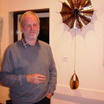 Robert Harding with one of his sculptures, Trehafod, 27 September 2007