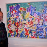 Robert Macdonald with one of his paintings, Trehafod, 27 September 2007