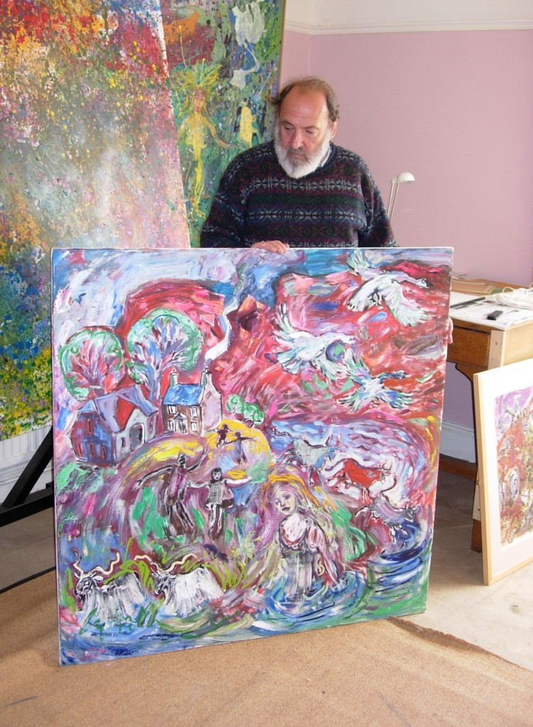 Robert Macdonald with his paintings, Penpont, Brecon, 30 July 2007