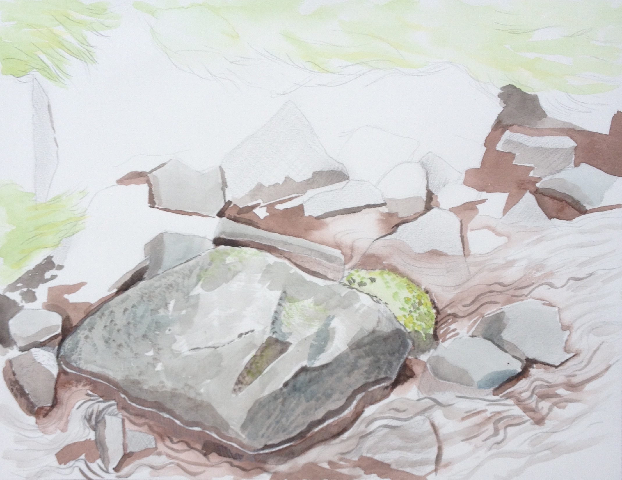 Rocky stream above Crai, watercolour and pencil (May 2015)