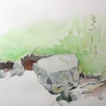 'Rocks and river bank, Tretower road' watercolour and pencil on paper (June 2015)