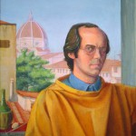 'Self Portrait in Florence' oil tempera on lined board, 60 x 50 cm (1989)