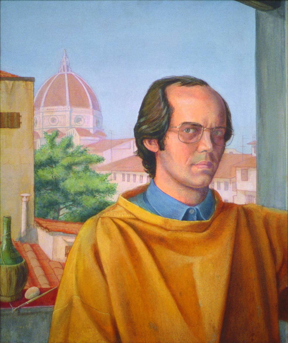 'Self-Portrait in Florence' oil tempera on lined board, 60 x 50 cm (1989)