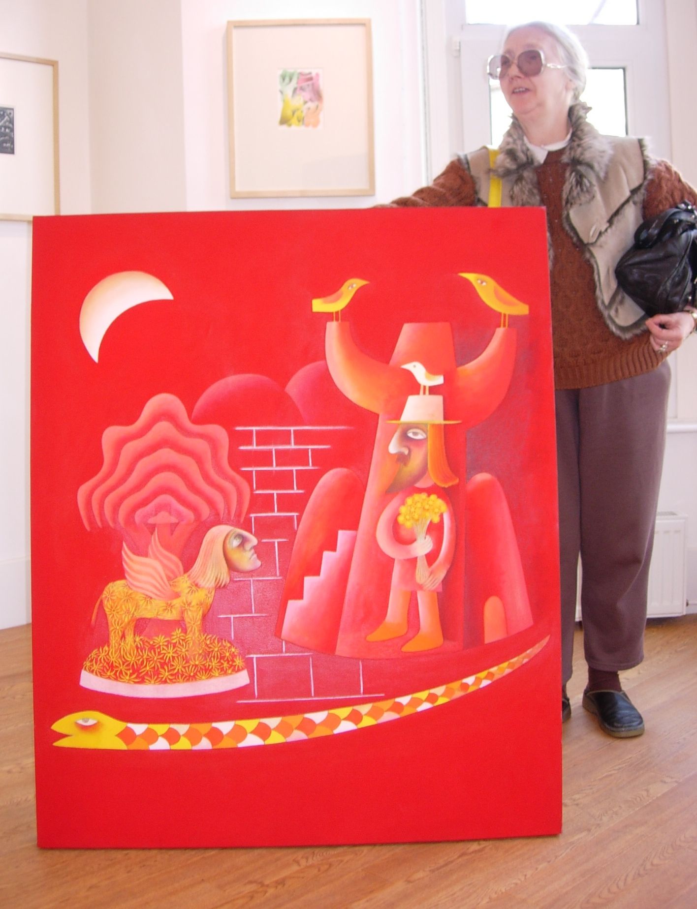 Janice Goble with a painting by Tony Goble, Kooywood Gallery, Cardiff, 19 March 2008