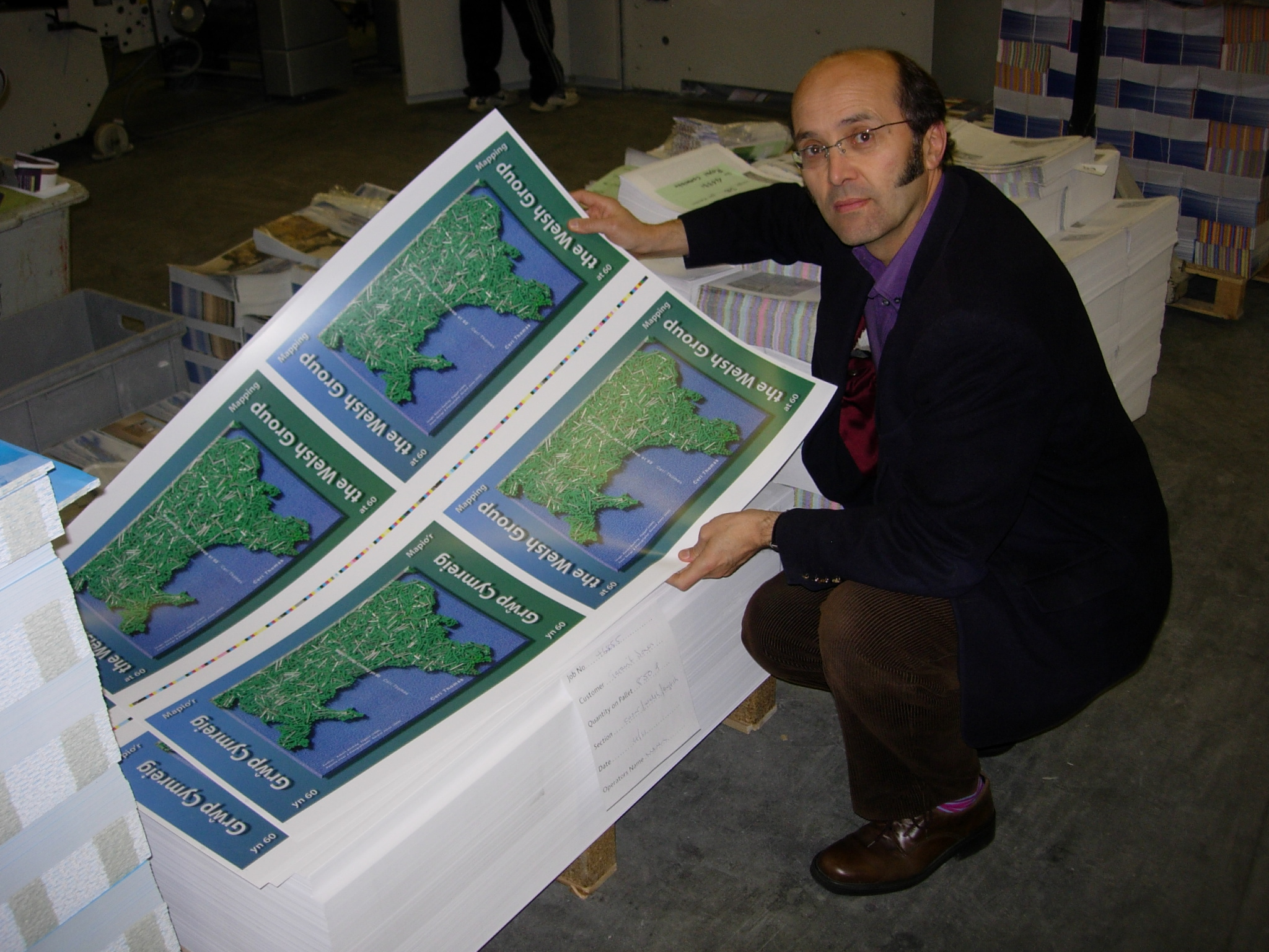 Ceri Thomas with the proofs of 'Mapping the Welsh Group at 60' publication, Clydach Vale, 2008