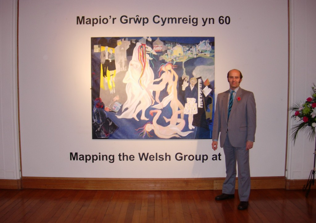 Ceri Thomas at the 'Mapping the Welsh Group at 60 / Mapio'r Grwp Cymreig yn 60' exhibition, National Library of Wales 2008