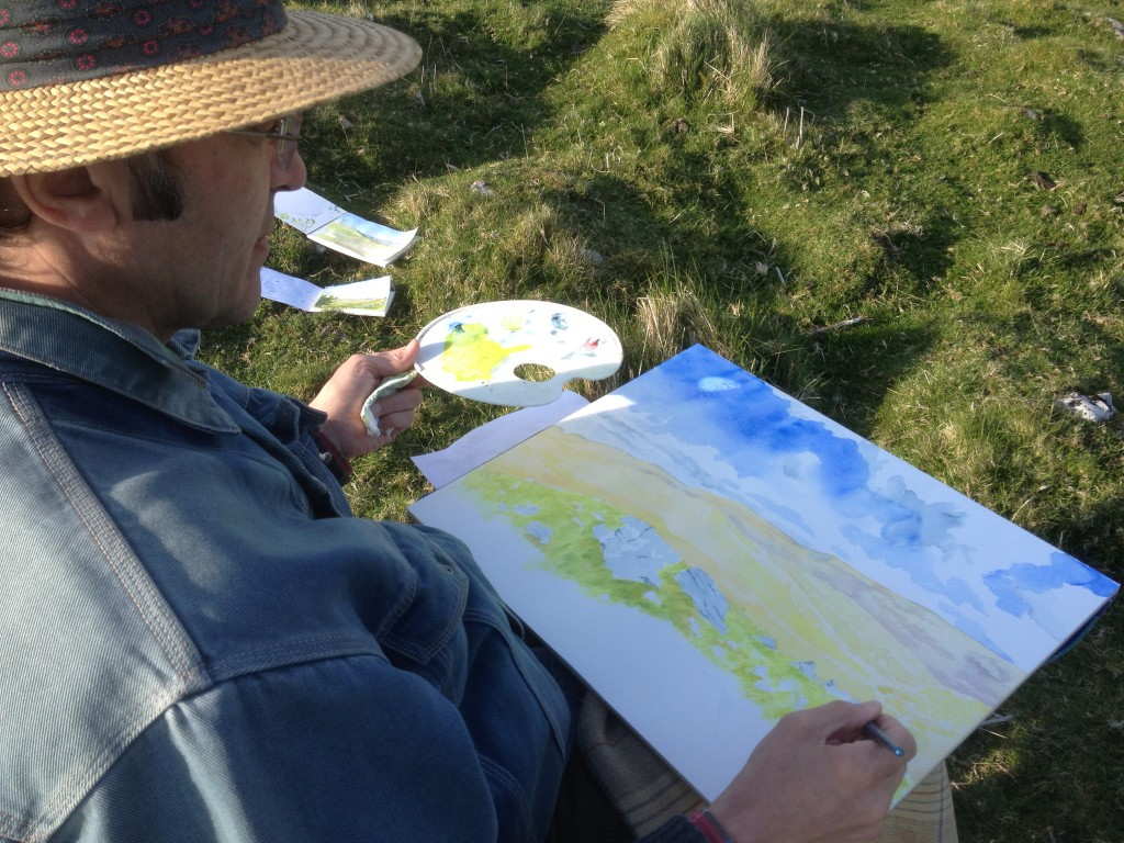 Ceri Thomas painting on location in south Wales, 2014