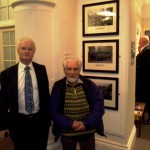 David Maddox and Gwyn Evans with their prints of Levi Ladd's 'Tonypandy Riots' photographs of 1910, Oriel y Bont 4 March 2014
