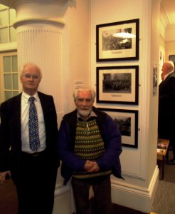 David Maddox and Gwyn Evans with their digital prints of Levi Ladd's 1910 'Tonypandy Riots' photographs, Oriel y Bont 4 March 2014