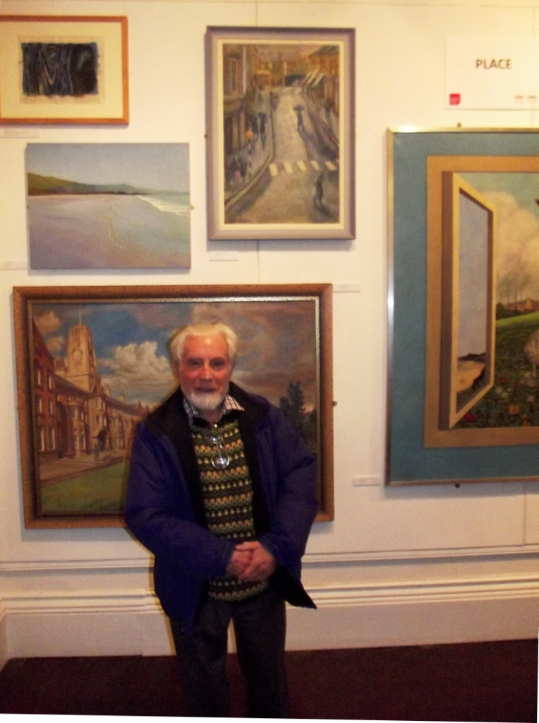 Gwyn Evans with his zebra crossing painting, Oriel y Bont 4 March 2014