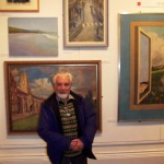Gwyn Evans with his zebra crossing painting, Oriel y Bont 4 March 2014