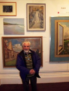 Gwyn Evans with his 1953 Penygraig zebra crossing painting, Oriel y Bont 4 March 2014