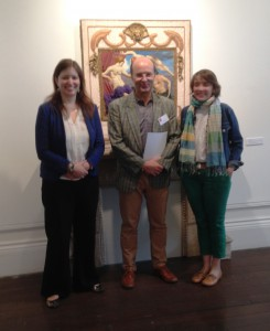 Charlotte Bolland and Cecile Maisonneuve (in green trousers), the English and French curators of the spectacular exhibition 'Les Tudors' (Musee du Luxembourg, Paris, 18 March-19 July), with Ceri Thomas at the interdisciplinary conference 'Representing the Tudors', Oriel y Bont 11 July 2015