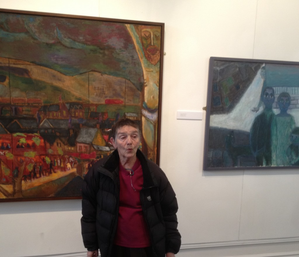 Pip Koppel with paintings by Heinz Koppel and Ernest Zobole, '56 Group - Then' exhibition, Oriel y Bont (February 2013)