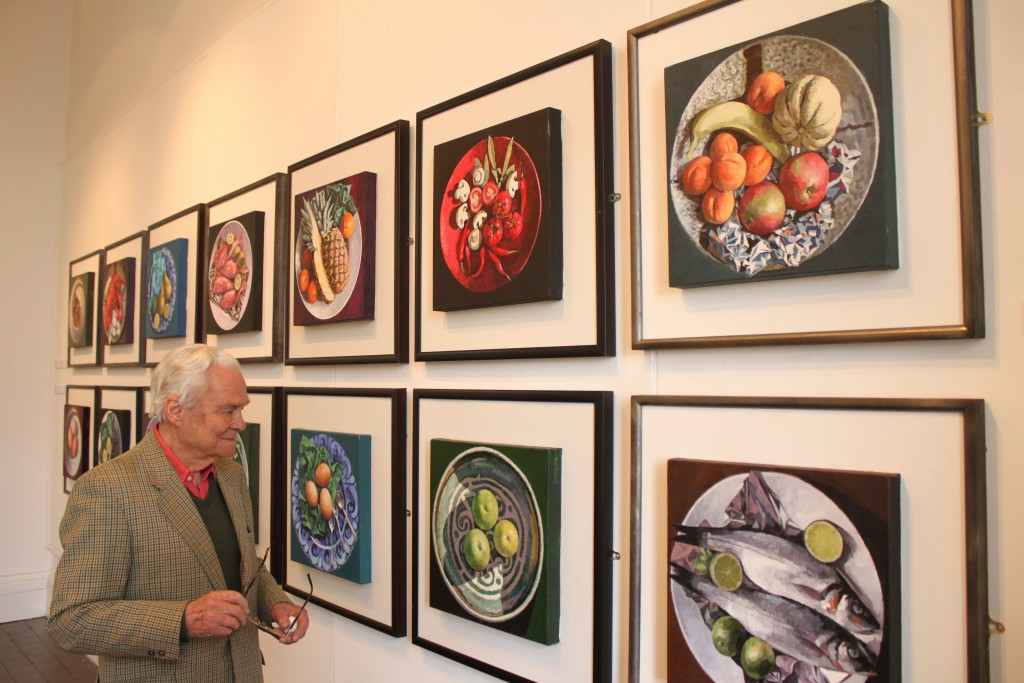 Bryn Richards with his still life on a plate series, Oriel y Bont 2012