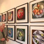 Bryn Richards with his still life on a plate series, Oriel y Bont, 2012
