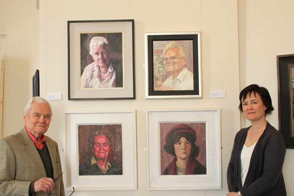 Bryn Richards with his artist-daughter Sarah Richards and some of his family portraits, Oriel y Bont 2012