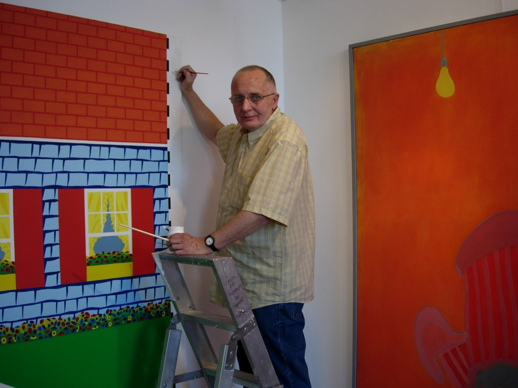Works on canvas: Ken Elias retouching his painting 'Days are where we live' alongside an Ernest Zobole painting, Zobole Gallery 2006