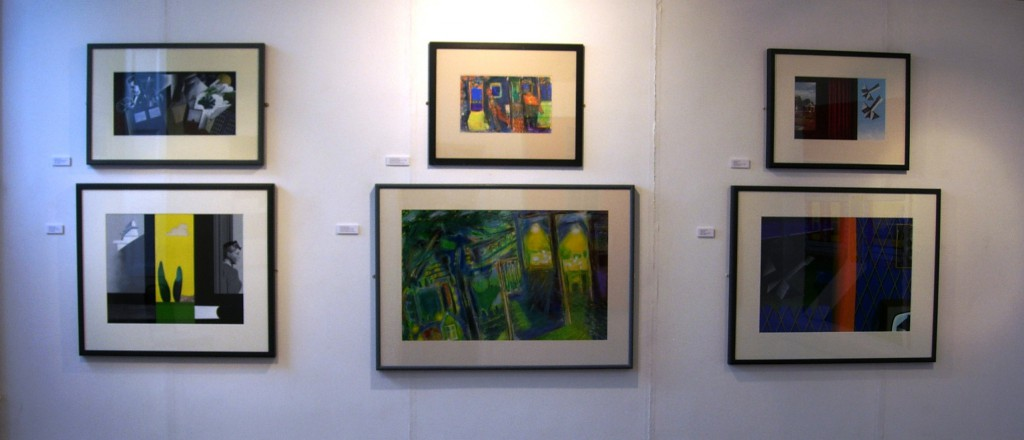 Works on paper: two Ernest Zoboles flanked by four Ken Elias pictures, Zobole Gallery 2006