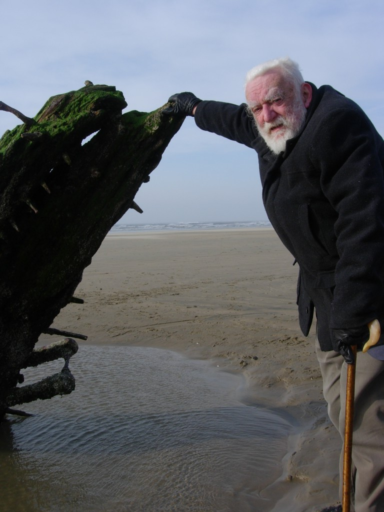 Michael Freeman with his inspiration, the wreck of the 'Helvetia', Rhossili, Gower 2011